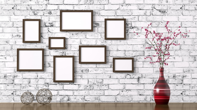 Wooden brown frames and shelf with red flower vase over brick wall interior decoration background 3d rendering